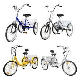 "1/7-Speed 20"" 24"" Adult 3-Wheel Tricycle Cruise Bike Bicycle"