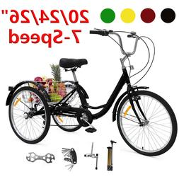 "20""/24""/26"" Adult Tricycle 7 Speed 3-Wheel Bicycle Bike Trik"