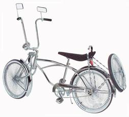 """20"""" Lowrider Bicycle Chrome 144 spokes Bent Fork with 16"""" wh"""