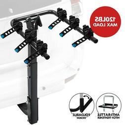 3-Bike Hitch Mounted Rack Steel Bicycle Carrier 120lbs Max L