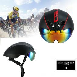 Aero TT Road Bicycle Helmet Goggles Racing Cycling Bike Helm
