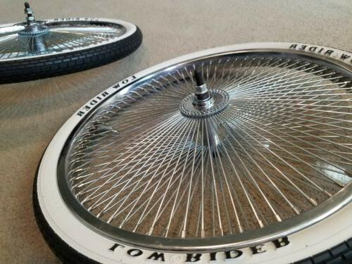 """2 NEW 144 20"""" BICYCLE RIMS AND 20X1.75 WHITEWALL TIRES WITH"""