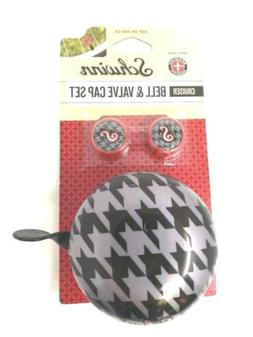 NEW! Schwinn Houndstooth Bike Bicycle Bell and Valve Caps Se