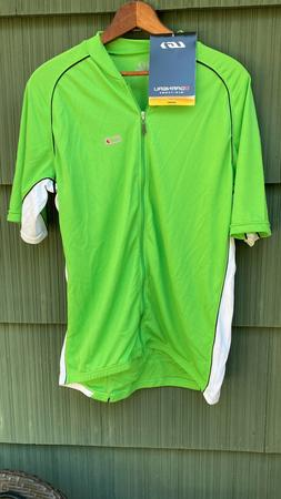 NWT Men's LARGE LOUIS GARNEAU LG GREEN & WHITE w/ BLACK STRI