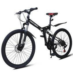 Outroad Mountain Bike 21 Speed 26in Folding Bike Double Disc
