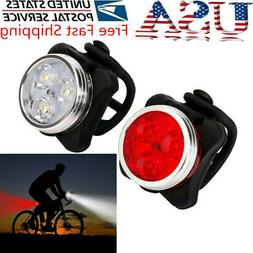 USB Rechargeable Cycling Bike 3 LED Head Taillight Set Front