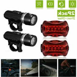 Waterproof 5 LED Lamp Bike Bicycle Front Head Light+Rear Saf